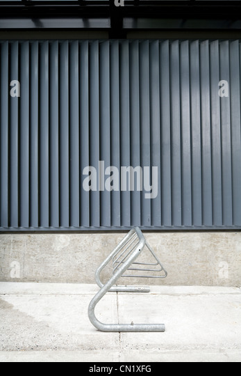 Empty bike rack, Vancouver, British Columbia, Canada - Stock Image