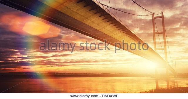 golden hour humber bridge - Stock Image