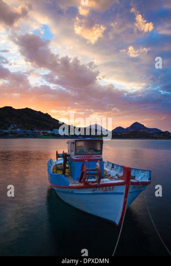 Sunrise over Plakias Harbour, Rethymnon District, Crete, Greece. - Stock Image