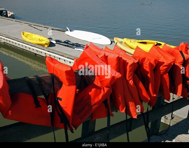 boating Life Vests Lake Elizabeth Freemont California - Stock Image