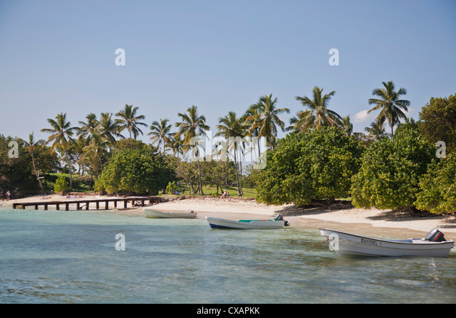 Beach, Cayo Levantado, Samana Bay, Dominican Republic, Greater Antilles, West Indies, Caribbean, Central America - Stock Image