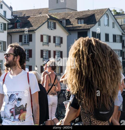 Party people, street parade, Zurich , Switzerland - Stock Image