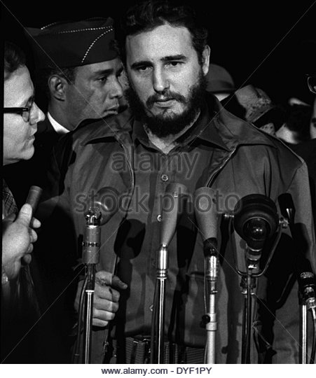 Fidel Castro arrives at the MATS Terminal, Washington, D.C. 1959. - Stock Image