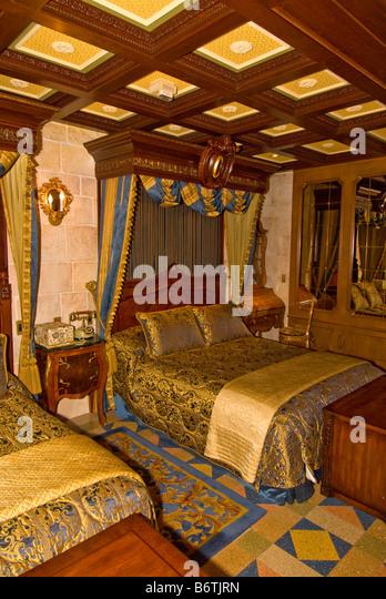 Cinderella Castle Suite bedroom Magic Kingdom Walt Disney World Orlando Florida FL - Stock Image