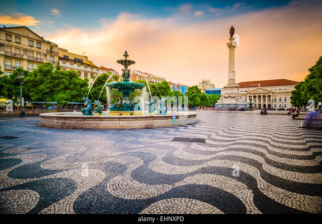 Lisbon, Portugal cityscape at Rossio Square. - Stock-Bilder