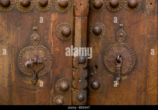 doorknockers, traditional house, Kashan, Iran - Stock Image