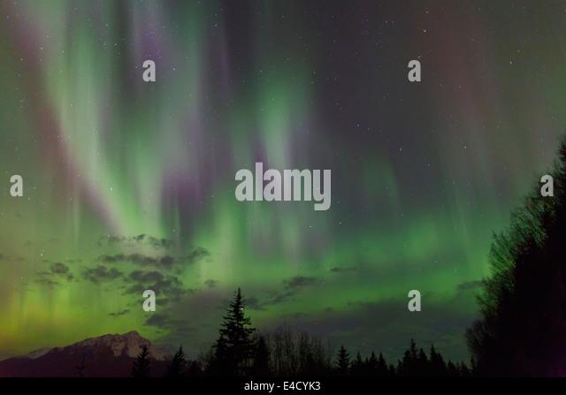 Aurora borealis over Resurrection Bay, Seward, Alaska. - Stock Image