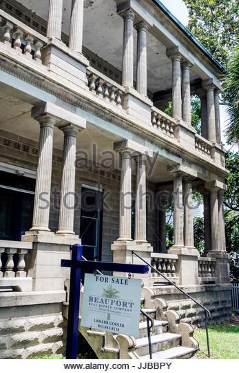 South Carolina Beaufort William Joseph Thomas house Victorian architecture house exterior porch columns - Stock Image