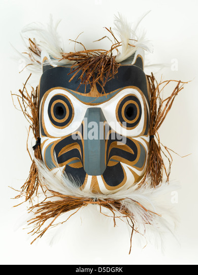 Owl mask carved by Gilbert Dawson of the Kwagiulth Nation, Vancouver Island, Canada - Stock Image