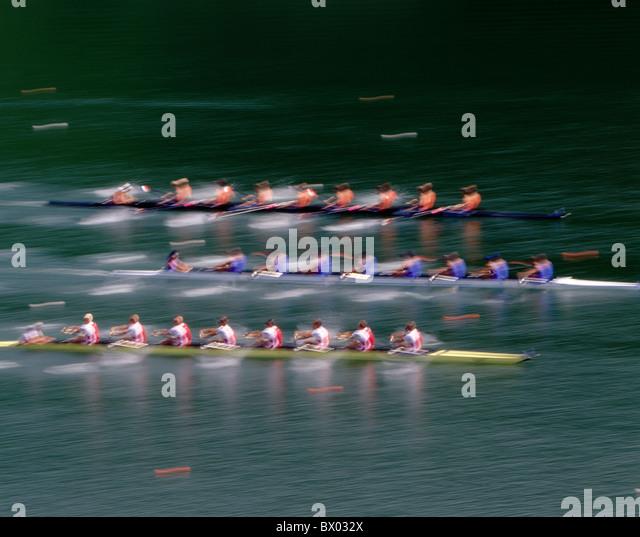 rowing sport eight juryman impression Lucerne no model release regatta oars blurs world championship - Stock Image