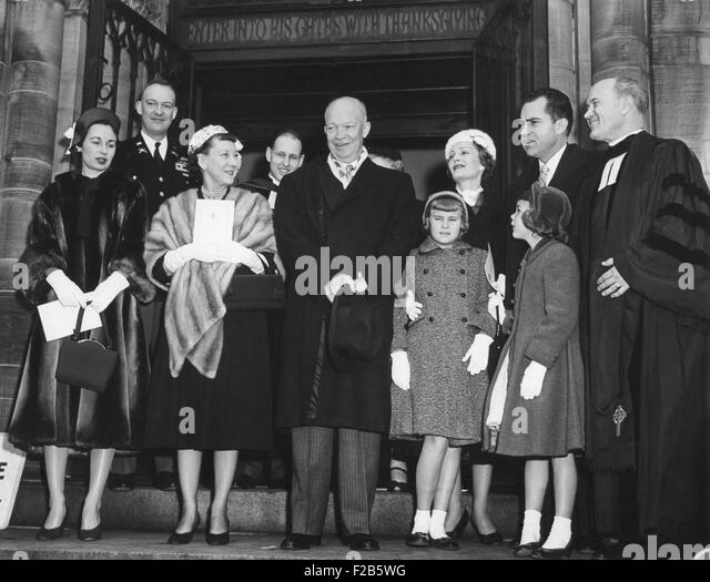 Eisenhower and Nixon families leaving the National Presbyterian Church on Inaugural morning. Jan. 20, 1957. L to - Stock Image
