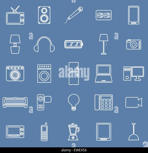 Electrical machine line icons on blue background, stock vector - Stock-Bilder