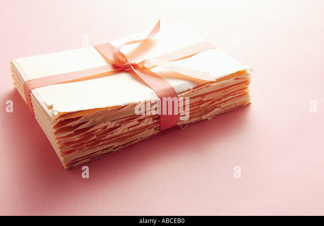 Letters tied with ribbon - Stock Image