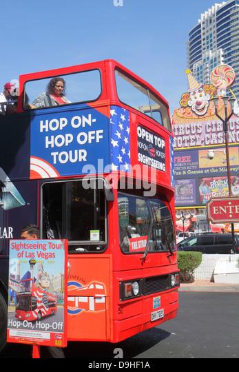Nevada Las Vegas The Strip South Las Vegas Boulevard bus transportation coach passengers double decker double-decker - Stock Image