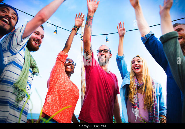 Beach Party Dinner Friendship Happiness Summer Concept - Stock-Bilder