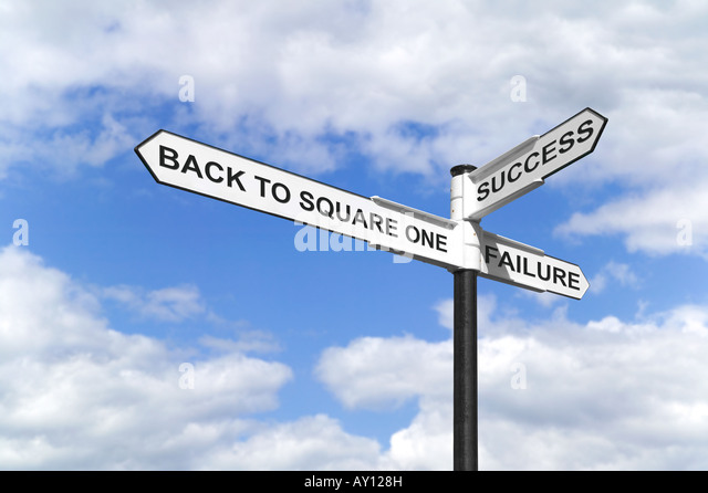 Concept image of a signpost with Back to Square One Success and Failure against a blue cloudy sky - Stock Image