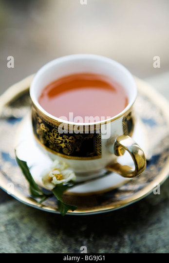 A cup of fresh Darjeeling tea in Darjeeling, India - Stock Image