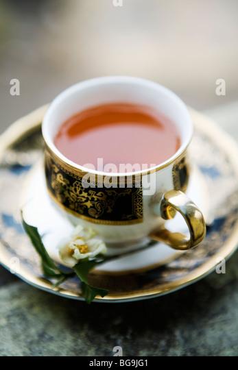 A cup of fresh Darjeeling tea in Darjeeling, India - Stock Image