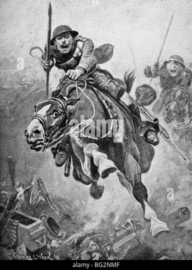 Contemporary World War One illustration of a cavalry charge by British troops in France. - Stock Image