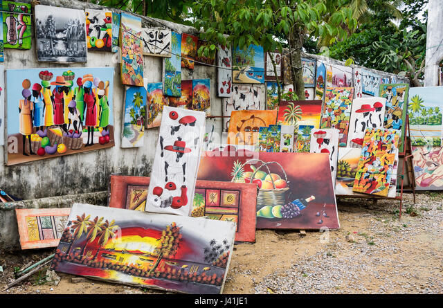 Naive paintings. Las Terrenas. Samana Peninsula. Dominican Republic. West Indies. Caribbean - Stock Image