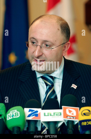Press conference of Georgian foreign minister - Stock Image