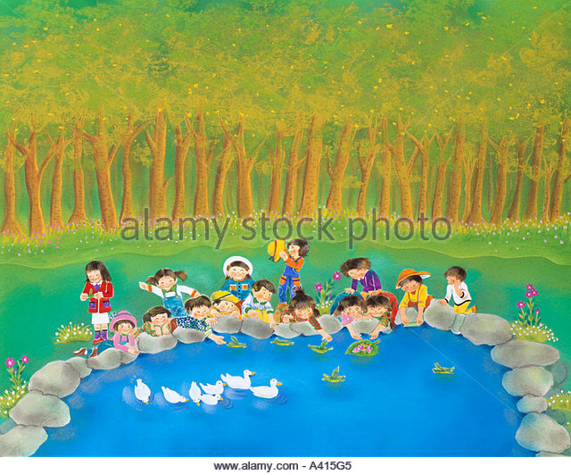 forest Japan Tree Green Pond - Stock Image