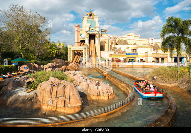 Journey to Atlantis Ride at Sea World, Orlando, Central Florida, USA - Stock Image