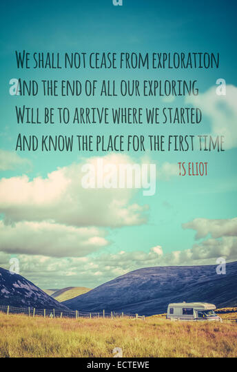 TS Eliot Quote Poster About Travel And Exploration - Stock-Bilder
