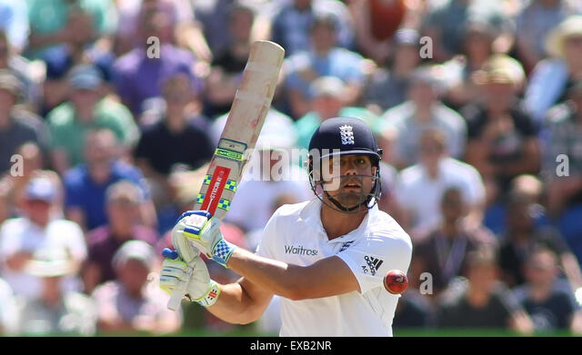 Cardiff, Wales. 10th July, 2015. Alastair Cook of England plays a shot during day three of the 1st Investec Ashes - Stock-Bilder