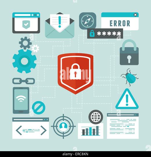 Internet and information security concept in flat style - infographics design elements and icons - Stock-Bilder