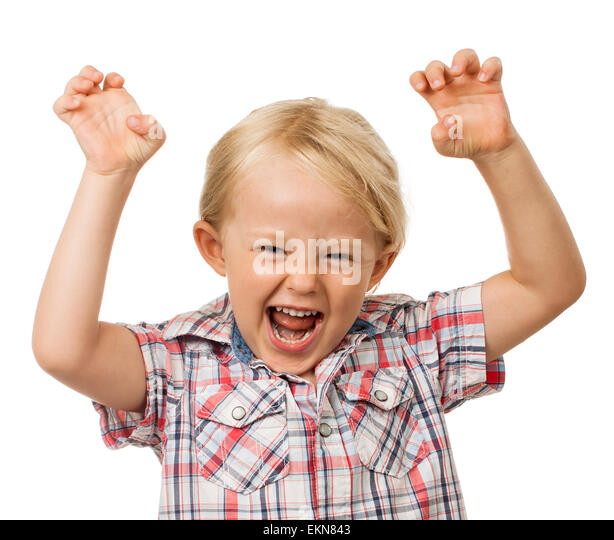Hyperactive young cute boy - Stock Image