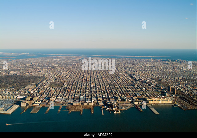 aerial view above Brooklyn NY New York City - Stock Image