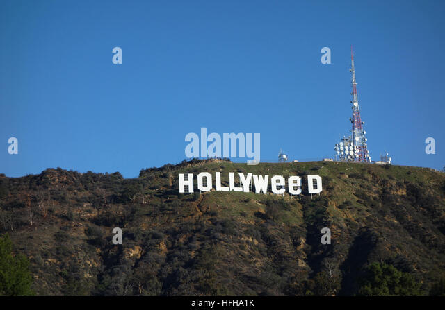 Hollywood, USA. 1st January 2017. The iconic Hollywood Sign was altered by pranksters to read 'Hollyweed'. - Stock Image