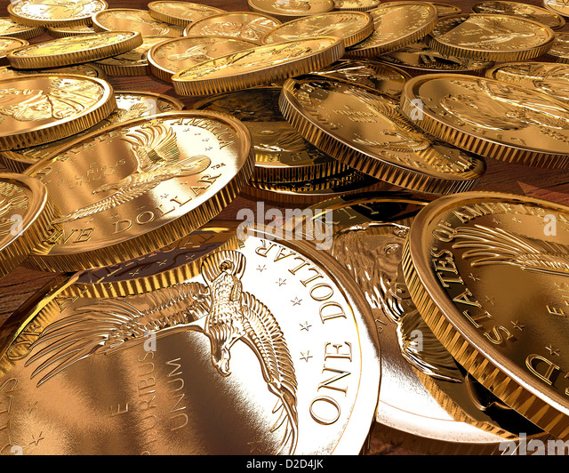 One Dollar coins computer artwork - Stock Image