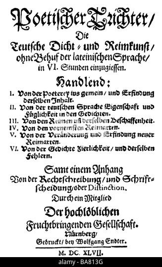 Harsdörffer, Georg Philipp, 1.11.1607 - 17.9.1658, German author/writer, work 'Poetischer Trichter' - Stock Image