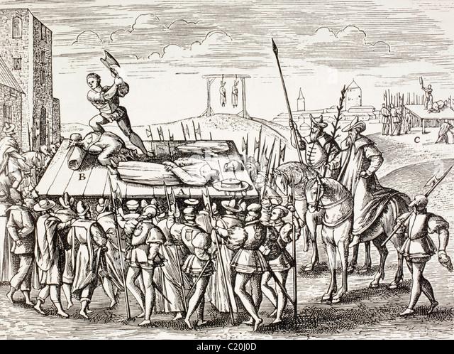 16th century propaganda illustrating punishments decreed by King Henry VIII against English Catholics. - Stock-Bilder