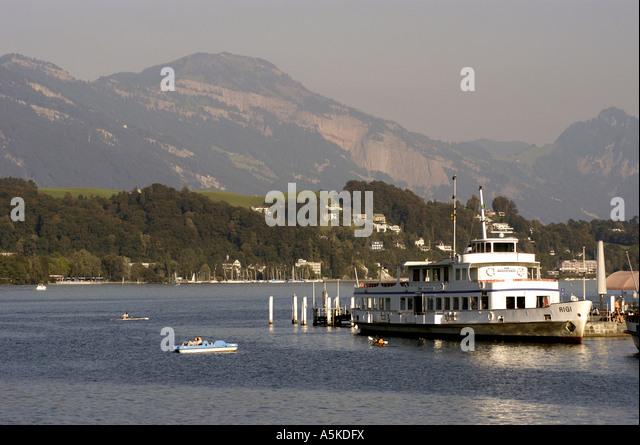 Lucerne luzern Switzerland lake with steamboat - Stock Image