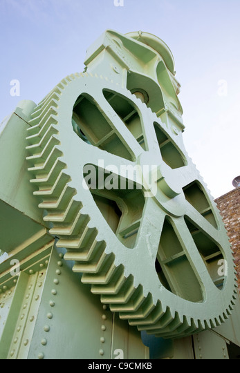 Gigantic plate bending roller machine - Stock Image