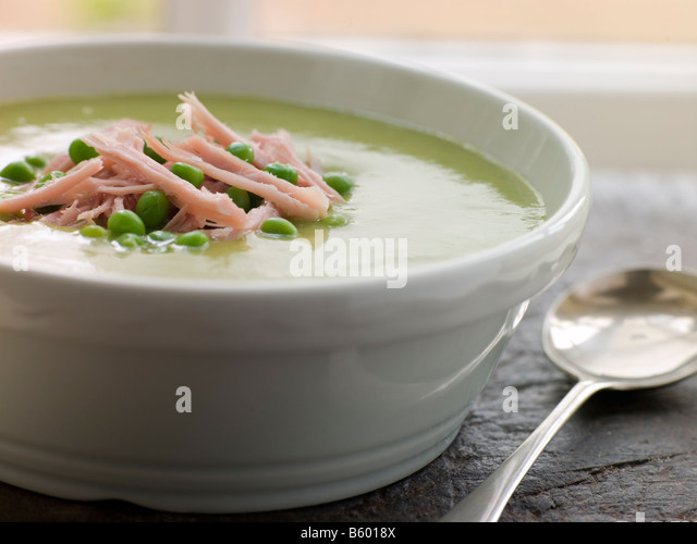 Bowl of Pea and Ham Soup - Stock Image