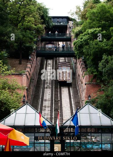 Budapest Castle Hill Funicular (Budavári Sikló) railway, Budapest, Hungary - Stock Image
