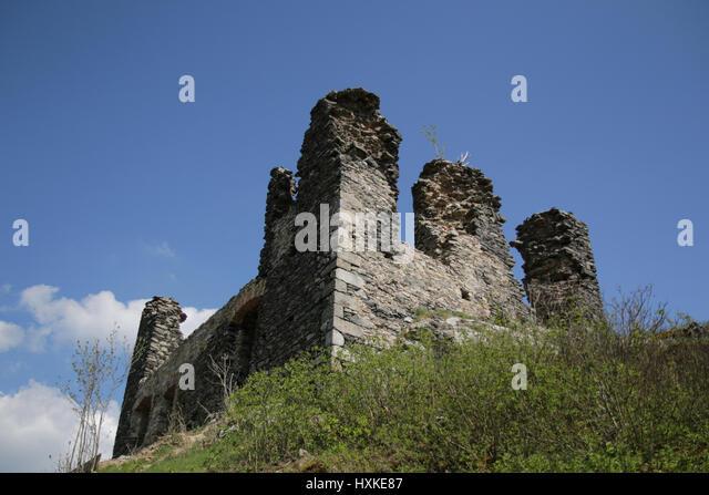Ruins of Andelska Hora castle in Czech republic - Stock-Bilder