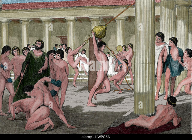 Classical antiquity. Agoge. education and training program by male Spartan citizens. Gymnasium. Engraving, colored. - Stock-Bilder