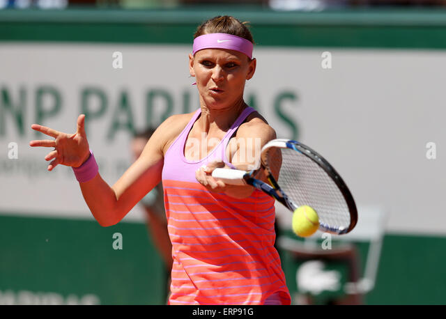 Paris, France.  6th June, 2015. Lucie Safarova of Czech Republic competes during the women's singles final against - Stock-Bilder