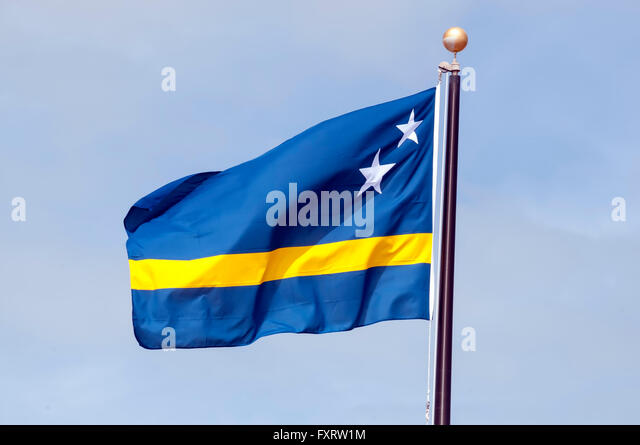 Curacao National Flag with blue symbolizing the Caribbean sea and 2 stars for Curacao and Klein Curacao - Stock Image