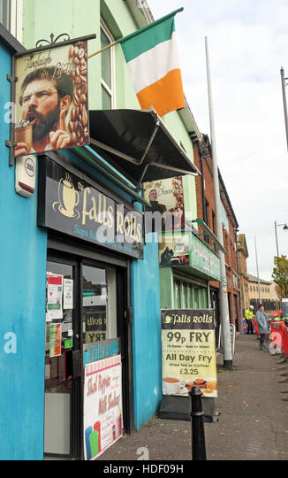 Belfast Falls Rd - Falls Rolls Cafe, Gerry Adams Sign with Tricolor Irish Flag - Stock Image