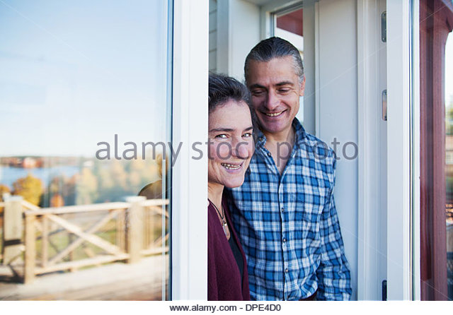 Mature couple enjoying vacation, Mariefred, Sweden - Stock Image