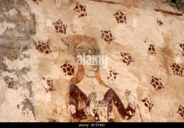 Medieval painting church wall stock photos medieval for Church mural restoration