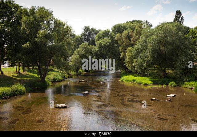 geography / travel, Germany, Bavaria, landscapes, Tauber river near Tauberrettersheim, Tauber, Tauber Valley, river, - Stock-Bilder