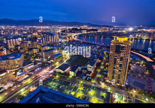 Fukuoka, Japan cityscape and office buildings. - Stock-Bilder