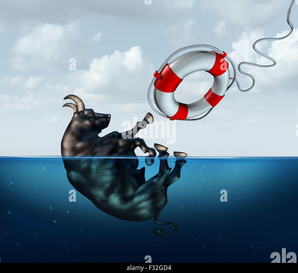 Saving the bull market business concept or financial investment safety metaphor as a bull drowning in water with - Stock Image